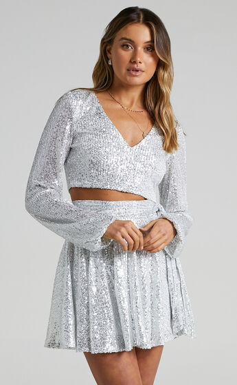 Cami Longsleeve Two Piece Set in Silver Sequin