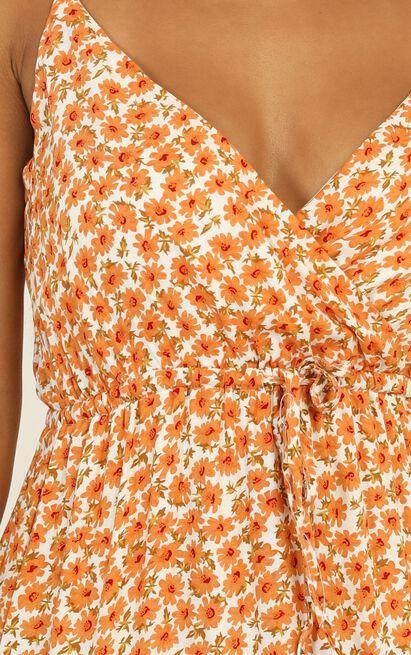 Watch The Sunset dress in orange floral - 16 (XXL), Orange, hi-res image number null