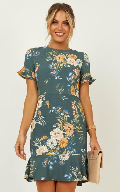 Keep It Calm Dress In Sage Floral - 16 (XXL), Green, hi-res image number null