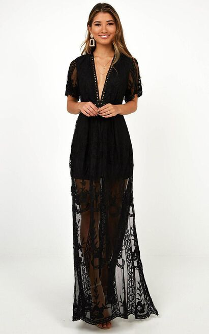 Love Spell Maxi dress in black lace - 20 (XXXXL), Black, hi-res image number null