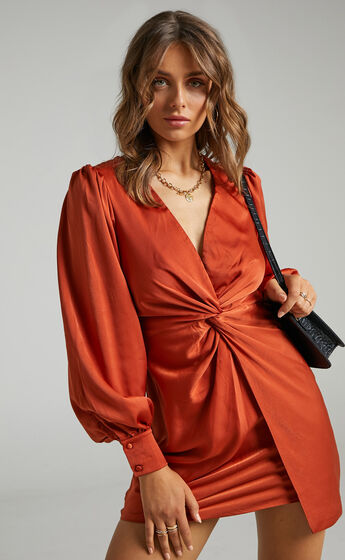 Billie Twist Front Mini Dress with Long Puff Sleeves in Copper