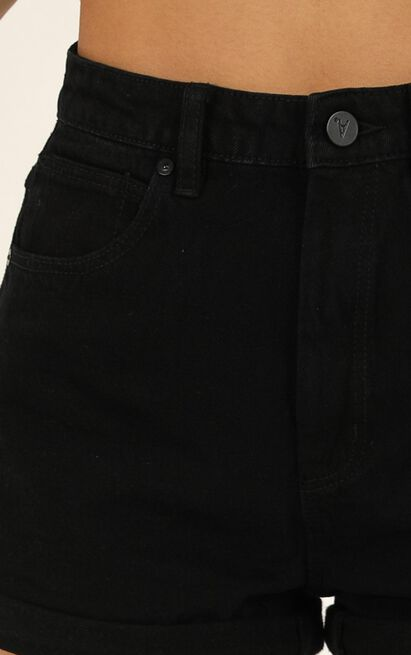 Abrand - A High Relaxed Denim Shorts in overdyed black - 8 (S), Black, hi-res image number null