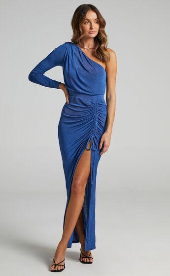 Eleiza One Shoulder Ruched Midi Dress in Cobalt