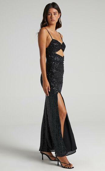 Vee Vee Sequin Maxi Dress in Black Sequin