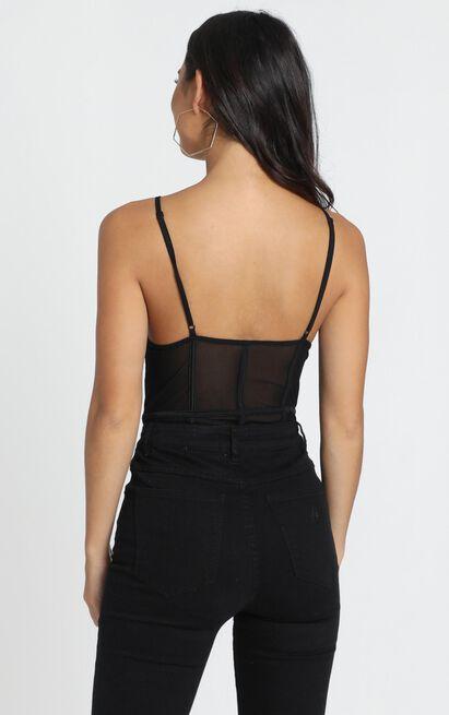 Keira Strap Detail Bodysuit in black mesh - 12 (L), Black, hi-res image number null