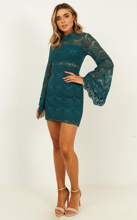 Never Start Dress In Teal Lace