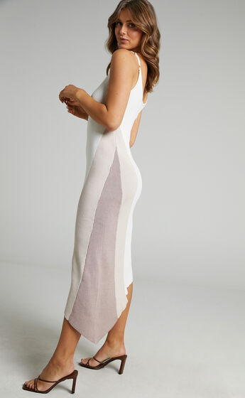Claudia Knit Dress with Godet Side Panel in Cream