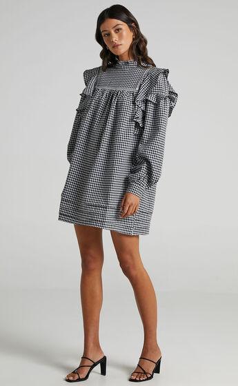 Adalia Dress in Black Check