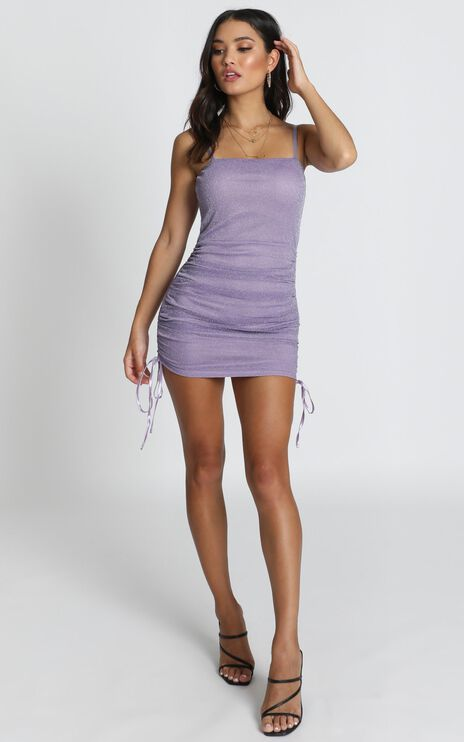Time Stands Still Dress In Lilac Mesh Lurex
