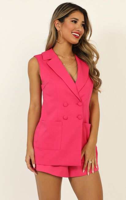 Daily Summary Blazer Vest in hot pink - 14 (XL), Pink, hi-res image number null