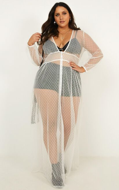 Crush On Me Maxi Dress in white mesh - 16 (XXL), White, hi-res image number null
