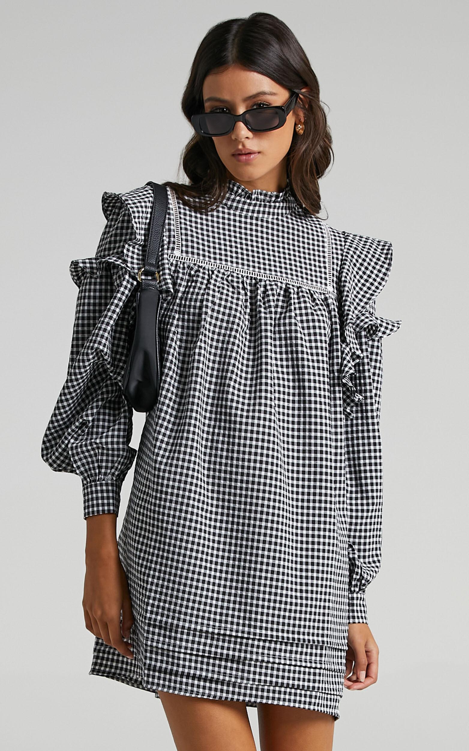 Adalia Dress in Black Check - 04, BLK1, super-hi-res image number null