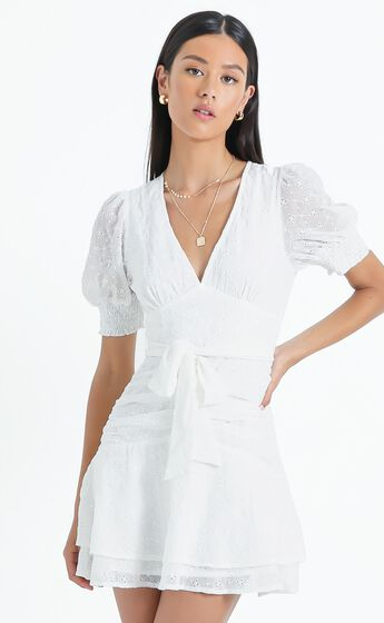 Lambeth Dress in White Embroidery
