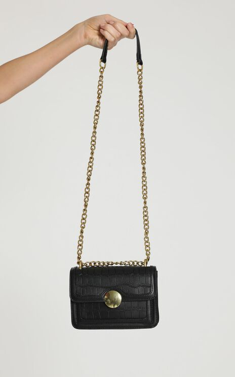 Weekend Mode chained sling bag in black croc