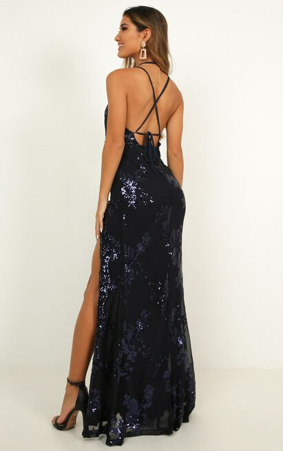 Out Till Dawn Maxi Dress in navy sequin - 4 (XXS), Navy, hi-res image number null