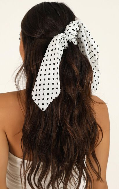 Still Dreaming Scrunchie 2 Pack In Black And White Spot, Black, hi-res image number null