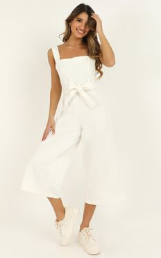 Fire On Fire Denim Jumpsuit In White