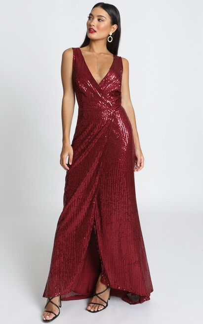 Feeling Pretty Dress in wine sequin - 20 (XXXXL), Wine, hi-res image number null