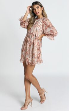 Oh My Days Mini Dress In Rust Paisley