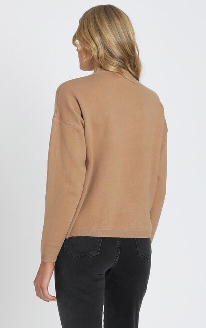 Midnight Glow Knit Jumper In  Tan - 8 (S), Tan, hi-res image number null