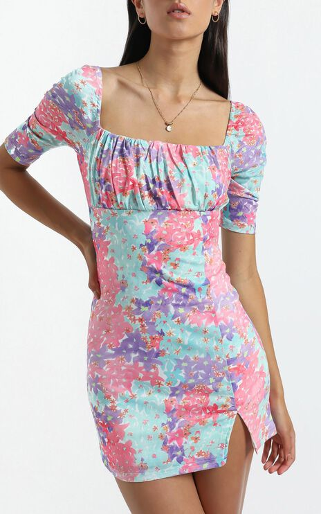 Elka Dress in Electric Blooms
