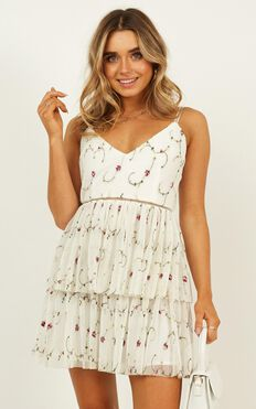 Sugar Plum Dress In white embroidery