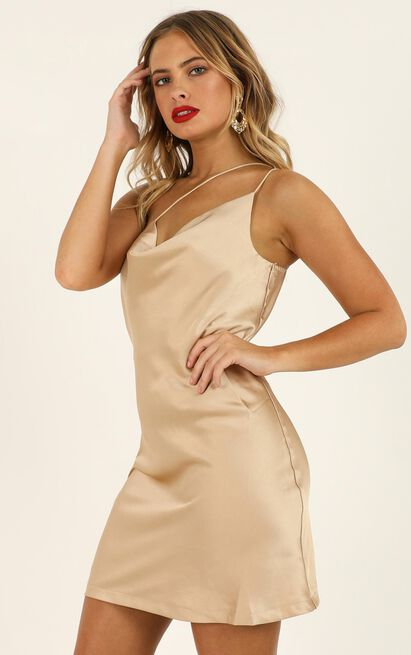 Dreaming of Love dress in champagne satin - 14 (XL), Beige, hi-res image number null