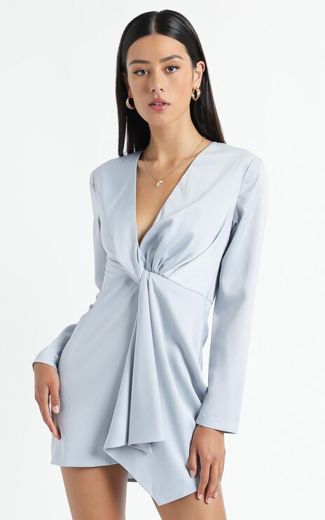Stop Thinking About It Dress in Light Blue Satin