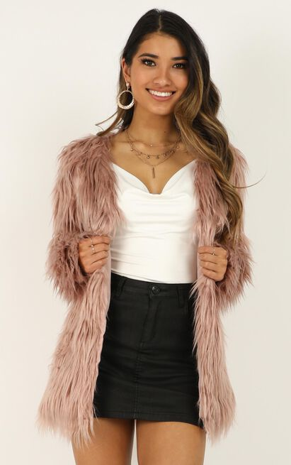 Faux Real Coat In dusty rose - 14 (XL), Pink, hi-res image number null