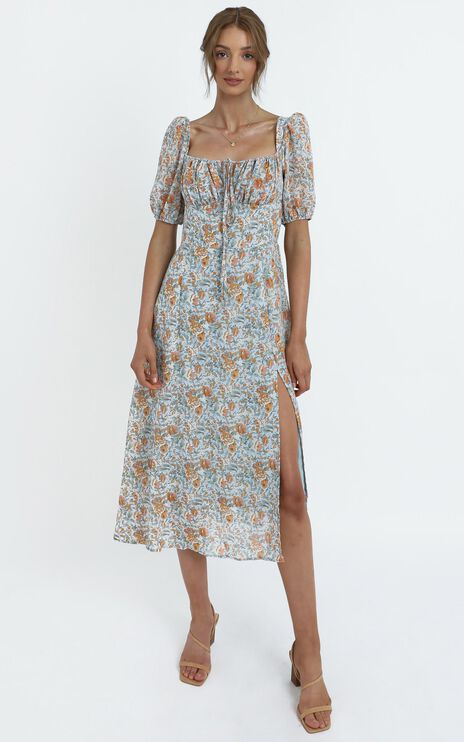 Delora Dress in Blue Floral