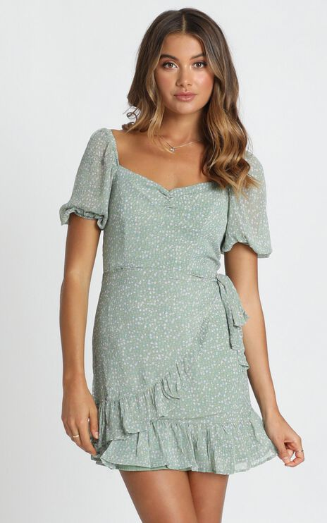 Shelby Mini Dress In Mint Floral