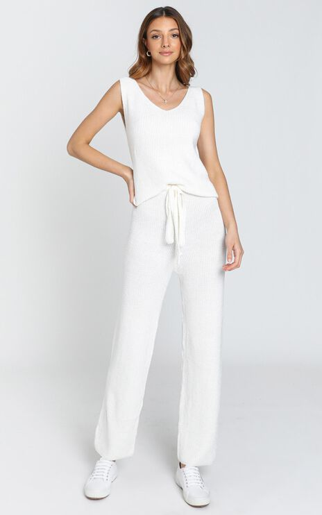 Luxe Lounge Knit Trouser in Cream