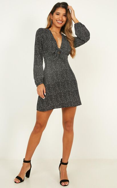 My Heart Girl Dress In black spot - 14 (XL), Black, hi-res image number null