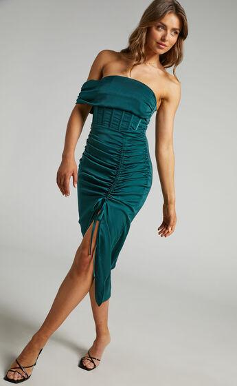 Hawk Corset Off Shoulder Dress in Emerald