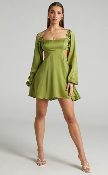 Dolci Side Cut Out Long Sleeve Mini Dress in Green
