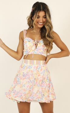 Kiss My Lips Two Piece Set In Multi Floral Stripe