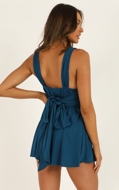 Time To Tango Playsuit in Teal Satin