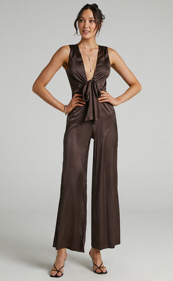 Meia Tie Front Jumpsuit in Chocolate Satin