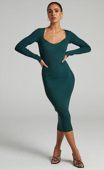 Charmaine  Sweetheart Neckline Maxi Rib Dress in Emerald