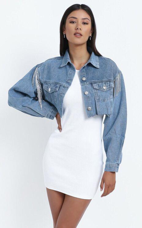 Abrielle Denim Jacket with Diamante in Blue