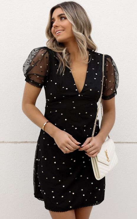 Last Moment Dress In Black With Metallic Embroidery