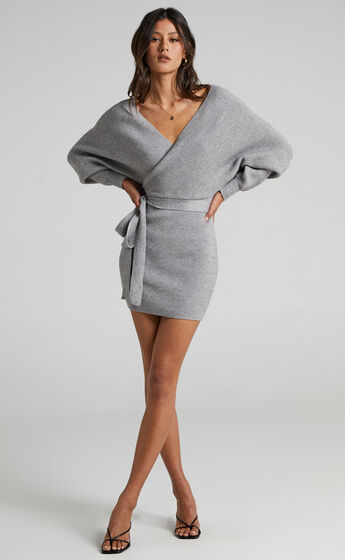 Dont Fall Down Knit Dress in Grey
