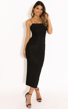 Jump Then Fall Dress In Black Lurex