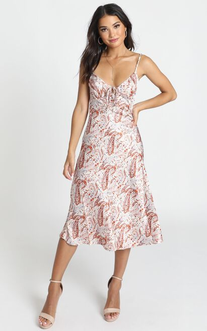 All The Distance dress in rust paisley satin - 16 (XXL), Rust, hi-res image number null