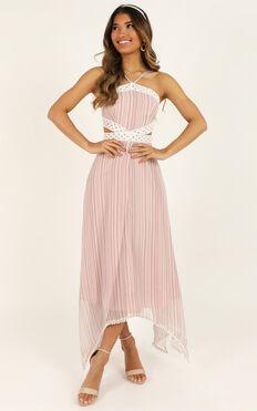 Into My Arms Dress In Blush Stripe