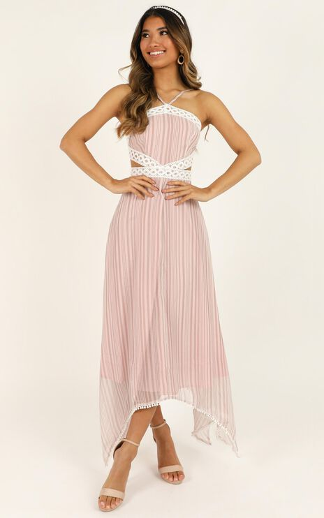 Into My Arms Dress In Blush Stripe