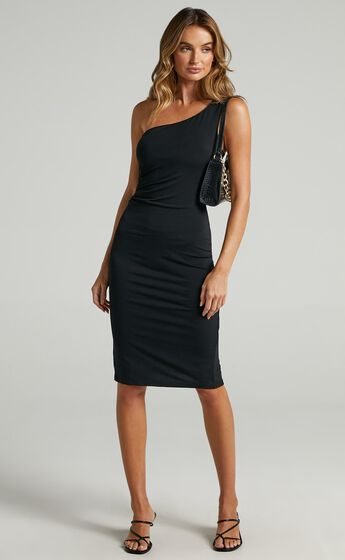 Got Me Looking One Shoulder Bodycon Midi Dress in Black
