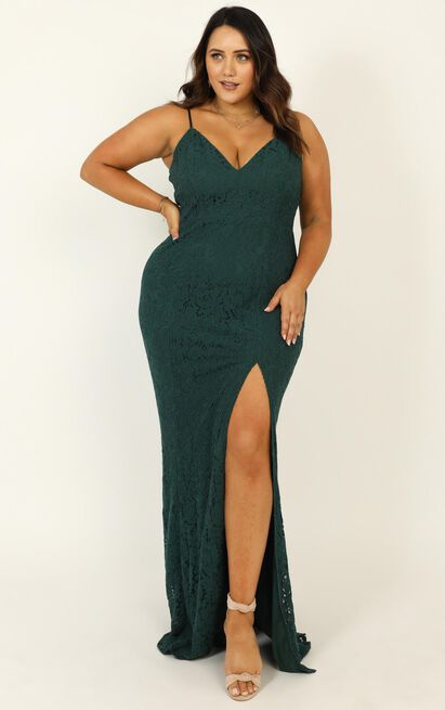 Always Extra Dress In emerald lace - 20 (XXXXL), Green, hi-res image number null