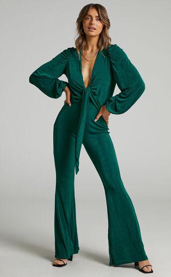 Acton Tie Front Neckline Jumpsuit in Emerald