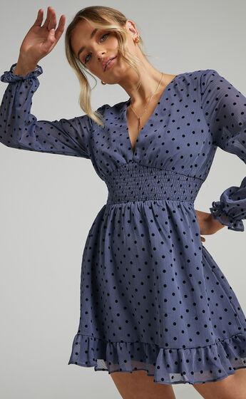 Pretty As You Long Sleeve Mini Dress in Blue Spot